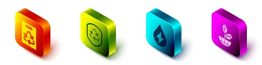 Set Isometric Paper bag with recycle, Recycle symbol inside shield, Water energy and Earth globe and plant icon. Vector