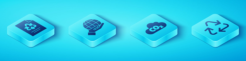 Set Isometric Paper with recycle, Hand holding Earth globe, Recycle symbol and CO2 emissions in cloud icon. Vector