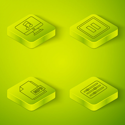Set Isometric Pause button, MP3 file document, Sound mixer controller and Computer with music note icon. Vector