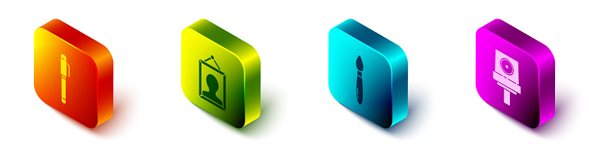 Set Isometric Pen, Picture, Paint brush and Spray can nozzle cap icon. Vector