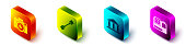 Set Isometric Photo camera, Paddle, Museum building and Action extreme camera icon. Vector