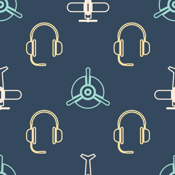 Set Isometric Plane, Headphones with microphone and Plane propeller icon. Vector Set Isometric Plane, Headphones with microphone and Plane propeller icon. Vector switchboard operator vintage stock illustrations