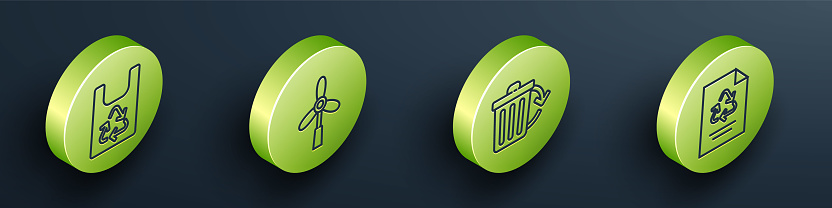 Set Isometric Plastic bag with recycle, Wind turbine, Recycle bin with recycle and Paper with recycle icon. Vector