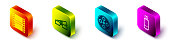 Set Isometric Play Video, 3D cinema glasses, Film reel and USB flash drive icon. Vector
