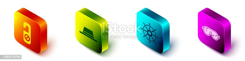 istock Set Isometric Please do not disturb, Man hat with ribbon, Ship steering wheel and Ski goggles icon. Vector 1263215792