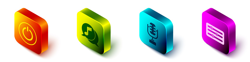 Set Isometric Power button, Musical note in speech bubble, Microphone and Sound mixer controller icon. Vector