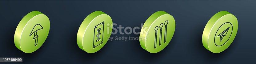 Set Isometric Psilocybin mushroom, Blade razor, Matches and Messenger icon. Vector