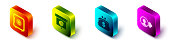 Set Isometric Safe, Graph, chart, diagram, infographic, Wallet with dollar and Job promotion icon. Vector