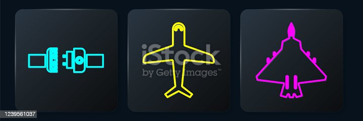 Set Isometric Safety belt, Jet fighter and Plane icon. Vector