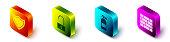 Set Isometric Shield, Open padlock, Fire extinguisher and Bricks icon. Vector