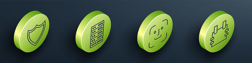 Set Isometric Shield, Server, Data, Web Hosting, Face recognition and Bulletproof vest icon. Vector