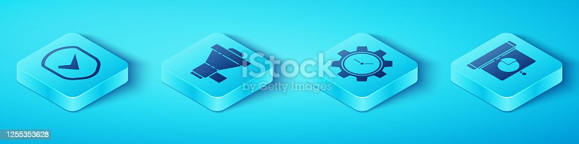 Set Isometric Shield with check mark, Megaphone, Graph, chart, diagram, infographic and Time Management icon. Vector