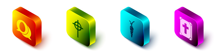 Set Isometric Speech bubble with easter egg, Christian cross, Carrot and Holy bible book icon. Vector
