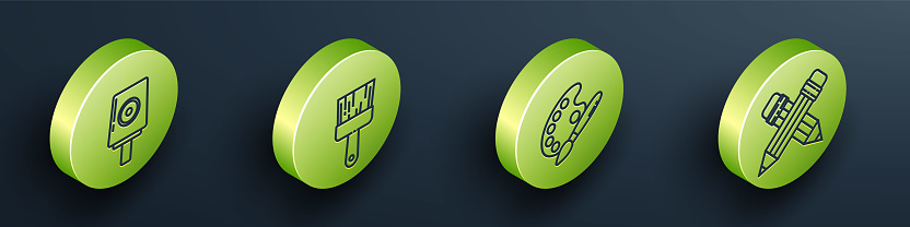 Set Isometric Spray can nozzle cap, Paint brush, Paint brush with palette and Crossed pencil with eraser icon. Vector