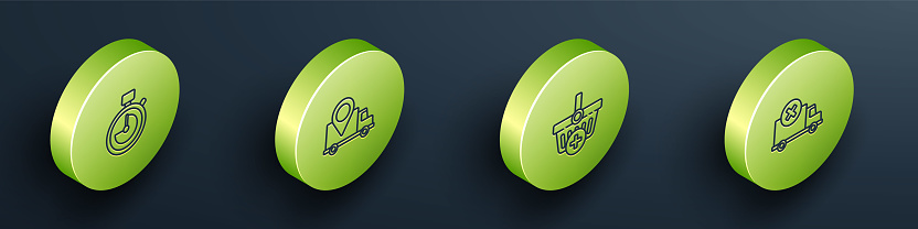 Set Isometric Stopwatch, Delivery tracking, Add Shopping basket and cargo truck vehicle icon. Vector