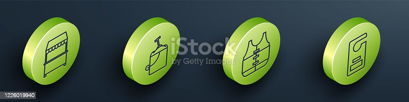 istock Set Isometric Street stall with awning, Sand in bucket with shovel, Life jacket and Please do not disturb icon. Vector 1226019940