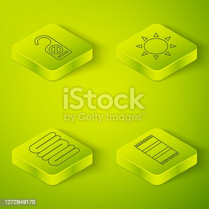 istock Set Isometric Sun, Towel stack, Beach towel and Please do not disturb icon. Vector 1272849170