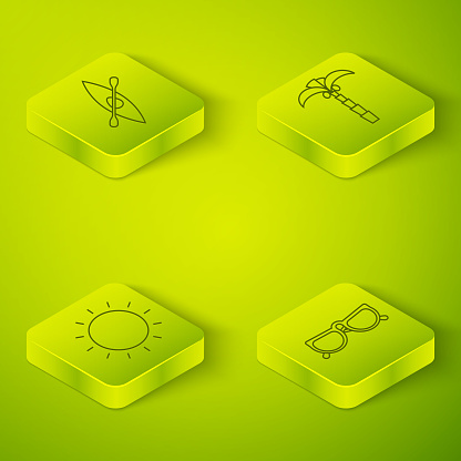 Set Isometric Tropical palm tree, Sun, Glasses and Kayak or canoe and paddle icon. Vector