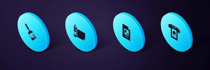 Set Isometric T-shirt, File document, Roll of paper and Paint brush icon. Vector