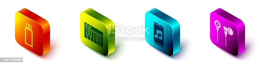 Set Isometric USB flash drive, Music synthesizer, Music player and Air headphones icon. Vector