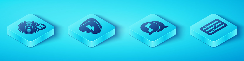 Set Isometric Vinyl disk, Guitar pick, Sound mixer controller and Musical note in speech bubble icon. Vector