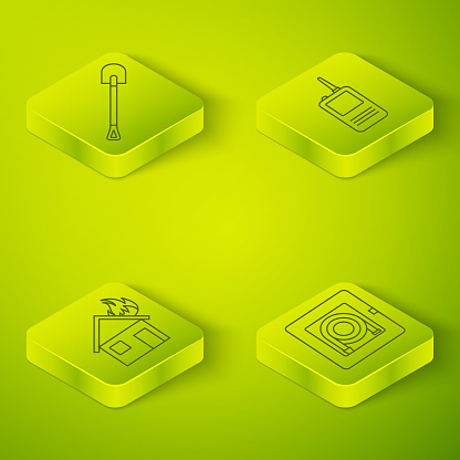 Set Isometric Walkie talkie, Fire in burning house, Fire hose cabinet and Fire shovel icon. Vector