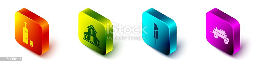 Set Isometric Whiskey bottle and glass, Church building, Feather pen and Wild west covered wagon icon. Vector