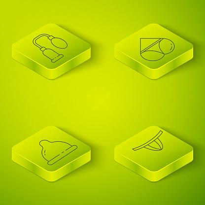 Set Isometric Woman panties, Condom, Woman panties and Penis pump icon. Vector