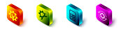 Set Isometric Wrench spanner and gear, Wrench spanner and gear, Calculator and Gear and arrows as workflow icon. Vector