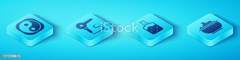 Set Isometric Yin Yang, Hair dryer, Sea salt in a bowl and Spa salt icon. Vector
