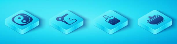 ilustraciones, imágenes clip art, dibujos animados e iconos de stock de establezca yin yang isométrico, secador de pelo, sal marina en un tazón e icono de sal de spa. vector - yin yang symbol