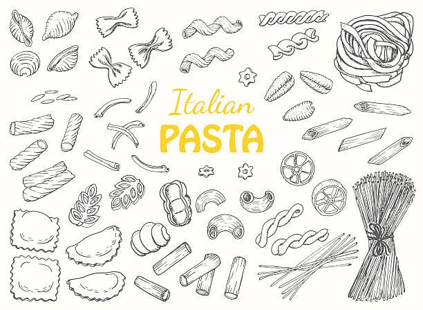 Set Italian pasta on a white background Set Italian pasta on a white background. Vector illustration for your design ravioli stock illustrations