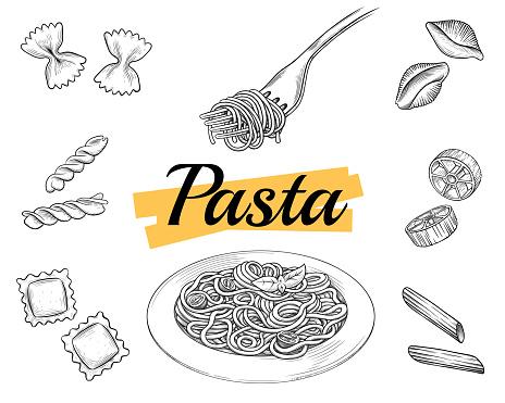 Set Italian pasta on fork and plate. Farfalle, conchiglie, penne, fusilli, spaghetti. Vector vintage black illustration isolated on white background.