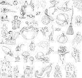 Set items for Halloween: skulls of birds, pumpkins, lamps, home, web, broomstick, toadstool, potion, flask, sweets. The sketch marker. Vector