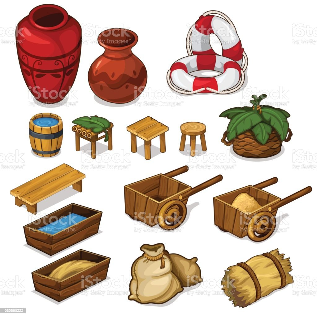 Set items for life in the countryside. Vector vector art illustration