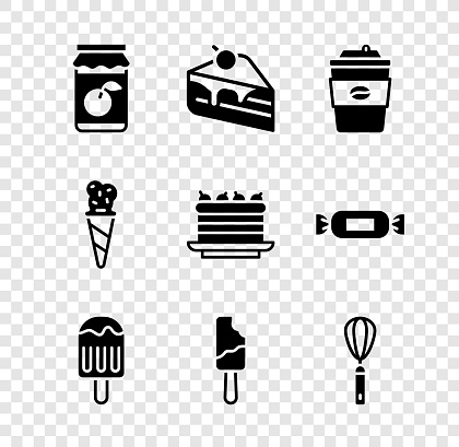 Set Jam jar, Piece of cake, Coffee cup to go, Ice cream, Kitchen whisk, in waffle cone and Cake icon. Vector