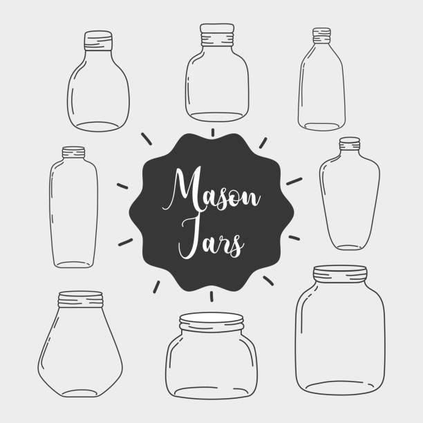 legen sie glas mason glas mit verschiedenen formen - glasblumen stock-grafiken, -clipart, -cartoons und -symbole