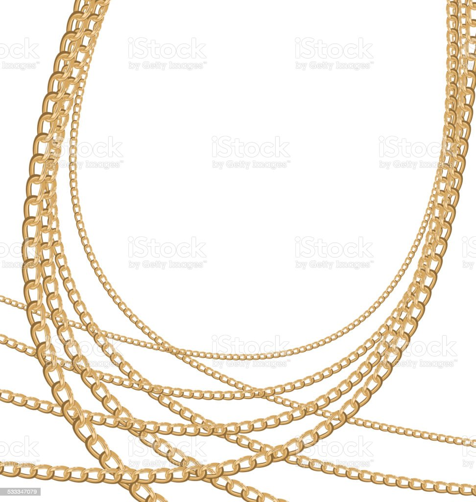 Set jewelry gold chains different size vector art illustration