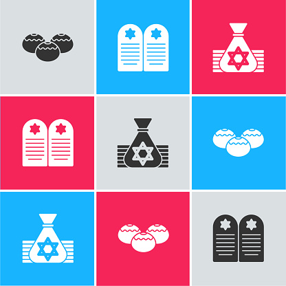 Set Jewish sweet bakery, Tombstone with star of david and money bag icon. Vector