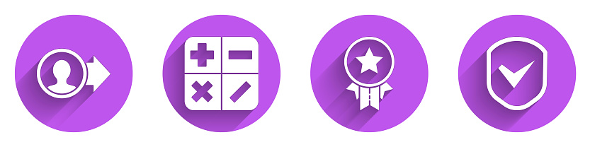 Set Job promotion, Calculator, Medal with star and Shield with check mark icon with long shadow. Vector