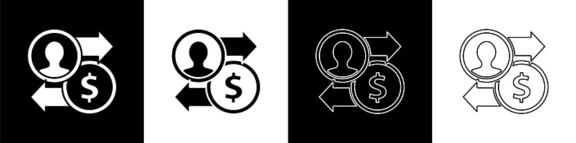 Set Job promotion exchange money icon isolated on black and white background. Success, achievement, motivation business symbol, growth. Vector Illustration