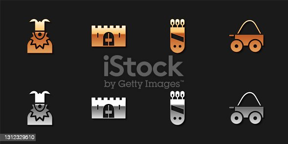 istock Set Joker head, Medieval castle gate, Quiver with arrows and Wooden four-wheel cart icon. Vector 1312329510