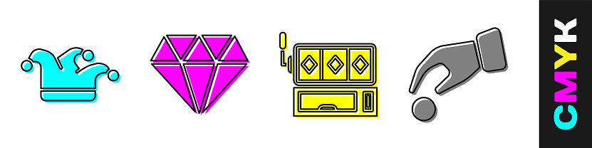 Set Joker playing card, Diamond, Slot machine and Hand holding casino chips icon. Vector