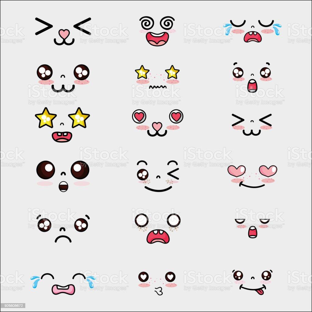 eingestellten Kawaii niedlichen Gesichtern Ausdruck – Vektorgrafik
