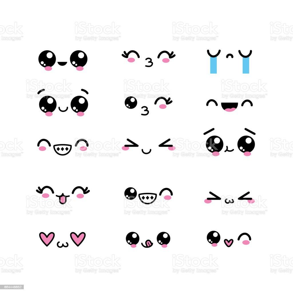 式デザインとセットのかわいい顔文字 - イラストレーションのベクター
