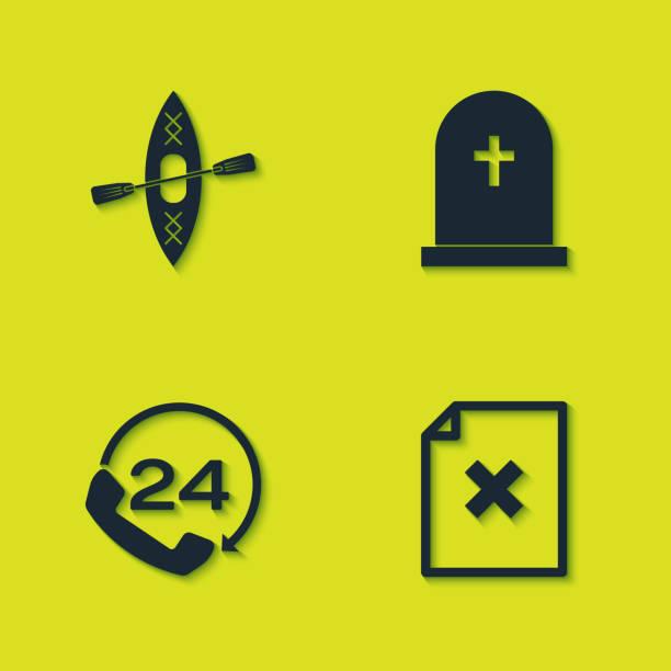 stockillustraties, clipart, cartoons en iconen met stel kajak en peddelen in, verwijder het bestandsdocument, telefonische 24-uurs ondersteuning en tombstone met kruispictogram. vector - call center