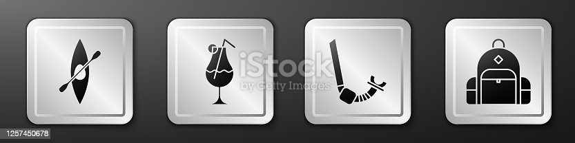 istock Set Kayak or canoe and paddle, Cocktail and alcohol drink, Snorkel and Hiking backpack icon. Silver square button. Vector 1257450678