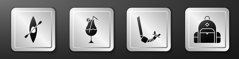 Set Kayak or canoe and paddle, Cocktail and alcohol drink, Snorkel and Hiking backpack icon. Silver square button. Vector
