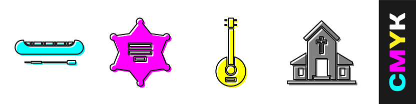 Set Kayak or canoe and paddle, Hexagram sheriff, Banjo and Church building icon. Vector