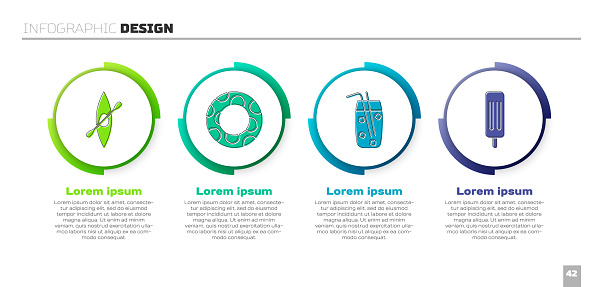 Set Kayak or canoe and paddle, Rubber swimming ring, Cocktail and alcohol drink and Ice cream. Business infographic template. Vector